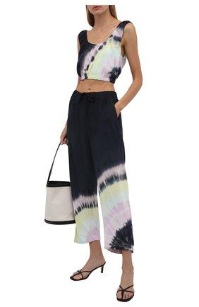 Женские брюки из вискозы ELECTRIC&ROSE разноцветного цвета, арт. LFBT24-BEAM | Фото 2 (Женское Кросс-КТ: Брюки-одежда, Брюки-спорт; Стили: Спорт-шик; Силуэт Ж (брюки и джинсы): Широкие; Длина (брюки, джинсы): Укороченные; Материал внешний: Вискоза)
