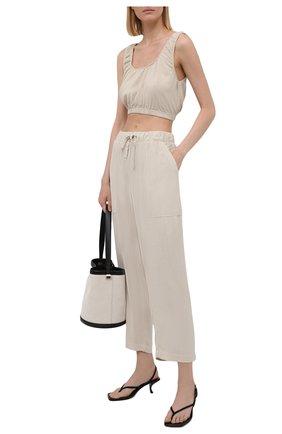 Женские брюки из вискозы ELECTRIC&ROSE бежевого цвета, арт. LFBT24 | Фото 2 (Женское Кросс-КТ: Брюки-одежда; Стили: Спорт-шик; Силуэт Ж (брюки и джинсы): Широкие; Длина (брюки, джинсы): Укороченные; Материал внешний: Вискоза)