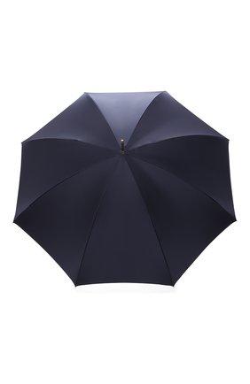 Женский зонт-трость PASOTTI OMBRELLI темно-синего цвета, арт. 189/RAS0 58152/1/PELLE | Фото 1 (Материал: Металл, Текстиль, Синтетический материал)