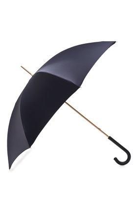Женский зонт-трость PASOTTI OMBRELLI темно-синего цвета, арт. 189/RAS0 58152/1/PELLE | Фото 2 (Материал: Металл, Текстиль, Синтетический материал)