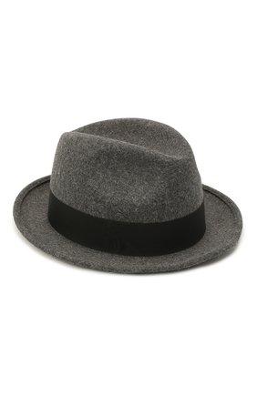 Женская фетровая шляпа SAINT LAURENT серого цвета, арт. 664616/3YH12 | Фото 1 (Материал: Шерсть)