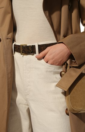 Женский кожаный ремень SAINT LAURENT коричневого цвета, арт. 634437/2VJ0W | Фото 2
