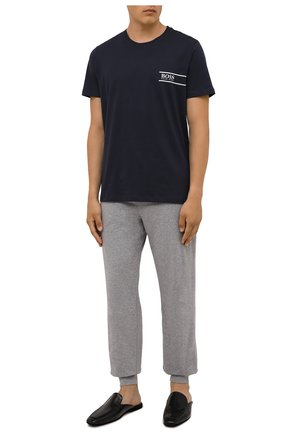 Мужская хлопковая футболка BOSS темно-синего цвета, арт. 50426319 | Фото 2