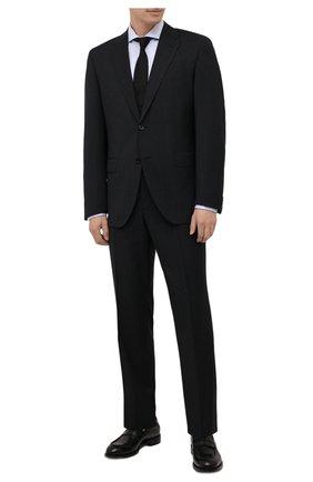 Мужской шерстяной костюм BOSS черного цвета, арт. 50458905 | Фото 1 (Материал внешний: Шерсть; Рукава: Длинные; Костюмы М: Однобортный; Стили: Классический)