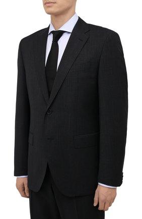 Мужской шерстяной костюм BOSS черного цвета, арт. 50458905 | Фото 2 (Материал внешний: Шерсть; Рукава: Длинные; Костюмы М: Однобортный; Стили: Классический)