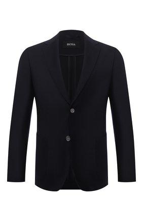 Мужской шерстяной пиджак BOSS темно-синего цвета, арт. 50458785 | Фото 1