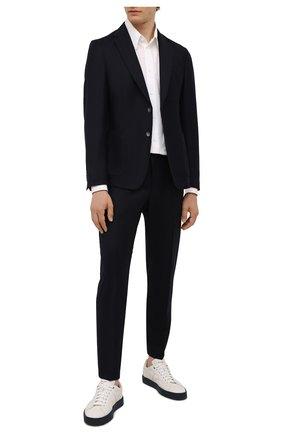 Мужской шерстяной пиджак BOSS темно-синего цвета, арт. 50458785 | Фото 2