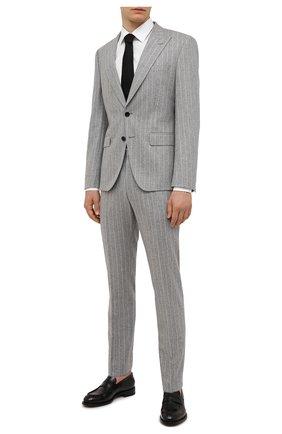 Мужской шерстяной костюм BOSS светло-серого цвета, арт. 50458928   Фото 1 (Материал внешний: Шерсть; Рукава: Длинные; Костюмы М: Однобортный; Стили: Классический)