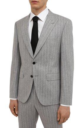 Мужской шерстяной костюм BOSS светло-серого цвета, арт. 50458928   Фото 2 (Материал внешний: Шерсть; Рукава: Длинные; Костюмы М: Однобортный; Стили: Классический)