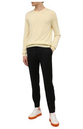 Мужские шерстяные брюки HUGO черного цвета, арт. 50459641 | Фото 2 (Материал внешний: Шерсть; Длина (брюки, джинсы): Стандартные; Случай: Повседневный; Стили: Кэжуэл)