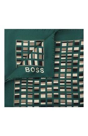 Мужской шелковый платок BOSS зеленого цвета, арт. 50461889   Фото 1 (Материал: Текстиль, Шелк)