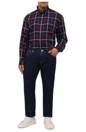 Мужская хлопковая рубашка PAUL&SHARK темно-синего цвета, арт. 11313178/C00 | Фото 2 (Рукава: Длинные; Материал внешний: Хлопок; Big sizes: Big Sizes; Случай: Повседневный; Рубашки М: Classic Fit; Стили: Кэжуэл; Длина (для топов): Удлиненные; Принт: Клетка; Манжеты: На пуговицах; Воротник: Button down)