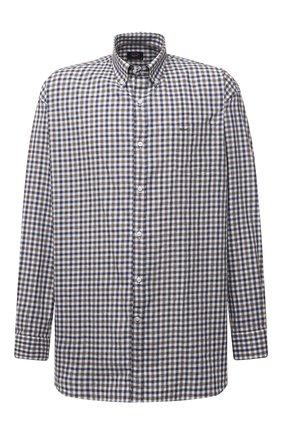 Мужская хлопковая рубашка PAUL&SHARK коричневого цвета, арт. 11313047/C00 | Фото 1 (Материал внешний: Хлопок; Big sizes: Big Sizes; Рукава: Длинные; Случай: Повседневный; Рубашки М: Regular Fit; Стили: Кэжуэл; Принт: Клетка; Манжеты: На пуговицах; Воротник: Button down; Длина (для топов): Удлиненные)