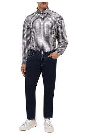 Мужская хлопковая рубашка PAUL&SHARK коричневого цвета, арт. 11313047/C00 | Фото 2 (Материал внешний: Хлопок; Big sizes: Big Sizes; Рукава: Длинные; Случай: Повседневный; Рубашки М: Regular Fit; Стили: Кэжуэл; Принт: Клетка; Манжеты: На пуговицах; Воротник: Button down; Длина (для топов): Удлиненные)