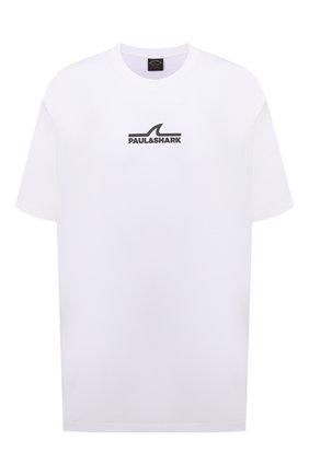 Мужская хлопковая футболка PAUL&SHARK белого цвета, арт. 11311637/C00/3XL-6XL | Фото 1 (Рукава: Короткие; Материал внешний: Хлопок; Стили: Кэжуэл; Принт: С принтом; Длина (для топов): Удлиненные)