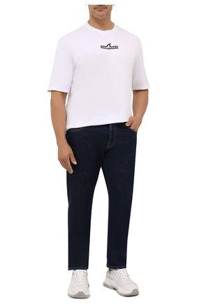 Мужская хлопковая футболка PAUL&SHARK белого цвета, арт. 11311637/C00/3XL-6XL | Фото 2 (Рукава: Короткие; Материал внешний: Хлопок; Стили: Кэжуэл; Принт: С принтом; Длина (для топов): Удлиненные)