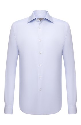 Мужская хлопковая сорочка CANALI голубого цвета, арт. NX05/GR02333 | Фото 1 (Длина (для топов): Стандартные; Рукава: Длинные; Материал внешний: Хлопок; Случай: Формальный; Рубашки М: Regular Fit; Стили: Классический; Манжеты: На пуговицах; Воротник: Акула; Принт: Однотонные)