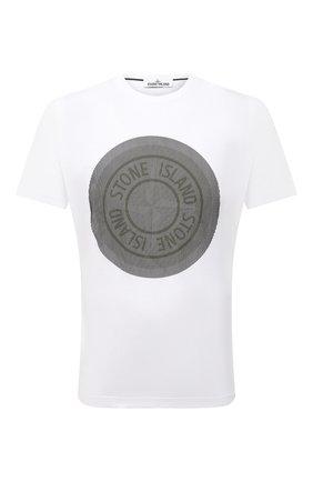 Мужская хлопковая футболка STONE ISLAND белого цвета, арт. 75152NS89 | Фото 1