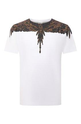 Мужская хлопковая футболка MARCELO BURLON белого цвета, арт. CMAA018F21JER002 | Фото 1 (Длина (для топов): Стандартные; Материал внешний: Хлопок; Рукава: Короткие; Стили: Кэжуэл; Принт: С принтом)