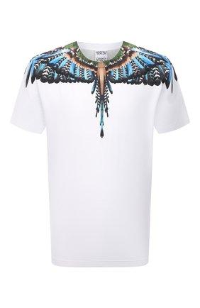 Мужская хлопковая футболка MARCELO BURLON белого цвета, арт. CMAA018F21JER003 | Фото 1 (Материал внешний: Хлопок; Рукава: Короткие; Длина (для топов): Стандартные; Стили: Кэжуэл; Принт: С принтом)