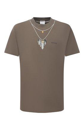 Мужская хлопковая футболка MARCELO BURLON хаки цвета, арт. CMAA018F21JER007 | Фото 1 (Длина (для топов): Стандартные; Рукава: Короткие; Материал внешний: Хлопок; Стили: Кэжуэл; Принт: С принтом)