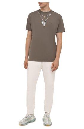 Мужская хлопковая футболка MARCELO BURLON хаки цвета, арт. CMAA018F21JER007 | Фото 2 (Длина (для топов): Стандартные; Рукава: Короткие; Материал внешний: Хлопок; Стили: Кэжуэл; Принт: С принтом)