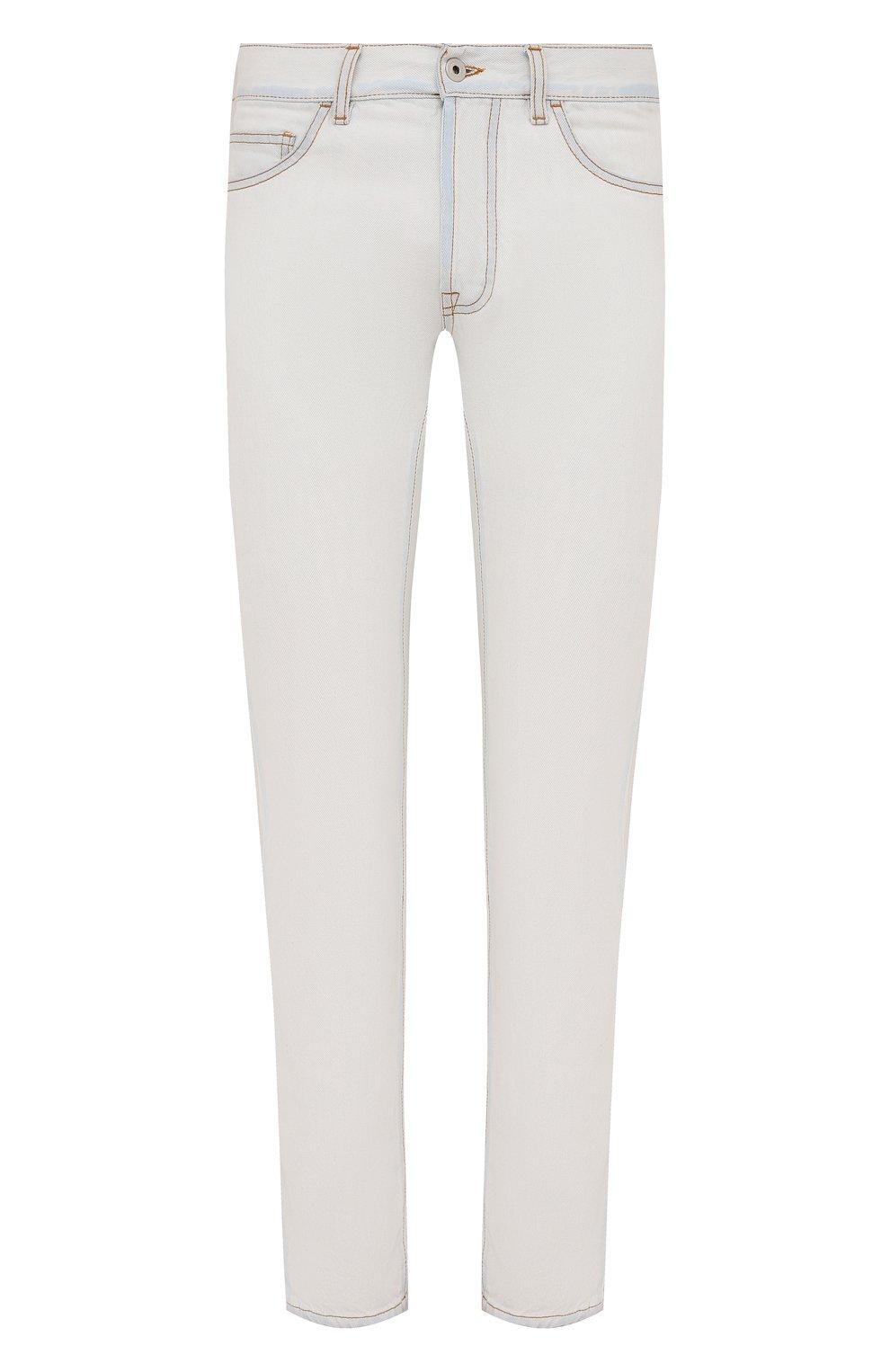 Мужские джинсы MARCELO BURLON белого цвета, арт. CMYA007F21DEN001 | Фото 1 (Силуэт М (брюки): Прямые; Кросс-КТ: Деним; Длина (брюки, джинсы): Стандартные; Материал внешний: Хлопок; Стили: Кэжуэл)