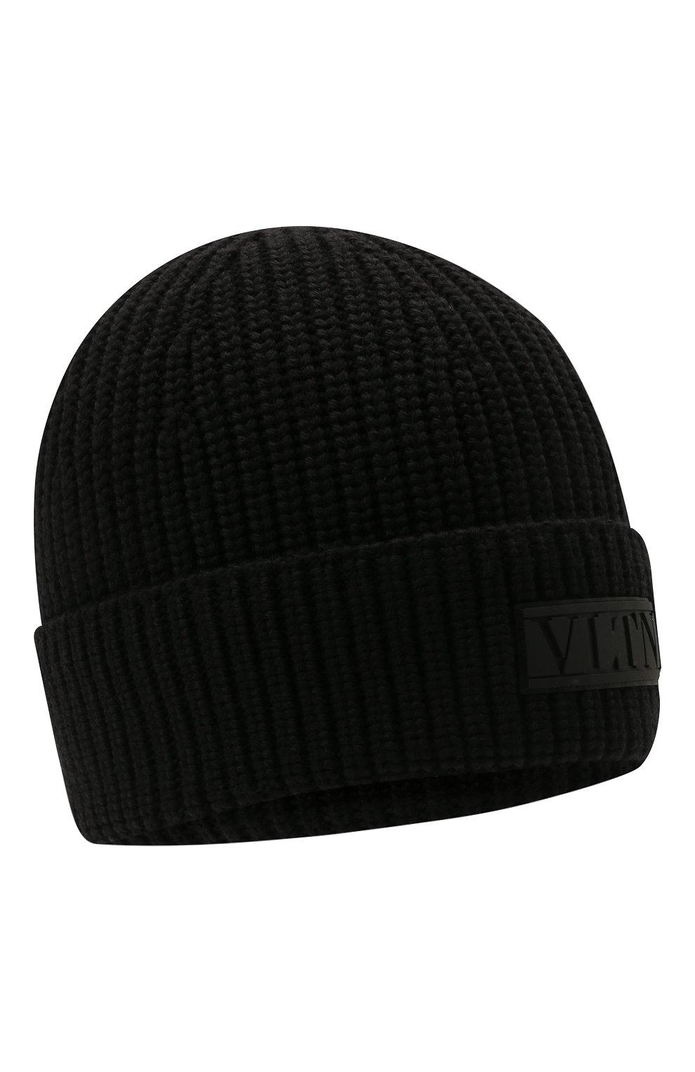 Мужская шерстяная шапка VALENTINO черного цвета, арт. WY2HB00R/RNM | Фото 1 (Материал: Шерсть; Кросс-КТ: Трикотаж)
