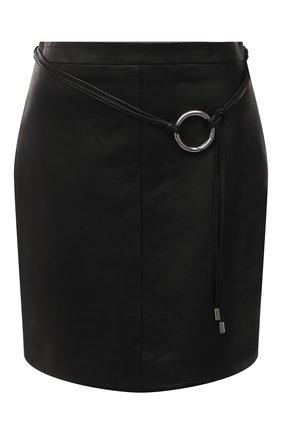 Женская кожаная юбка HUGO черного цвета, арт. 50453794 | Фото 1