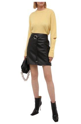Женская кожаная юбка HUGO черного цвета, арт. 50453794 | Фото 2