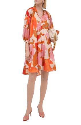Женское шелковое платье BOSS оранжевого цвета, арт. 50447645 | Фото 2
