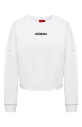 Женский хлопковый свитшот HUGO белого цвета, арт. 50453146 | Фото 1