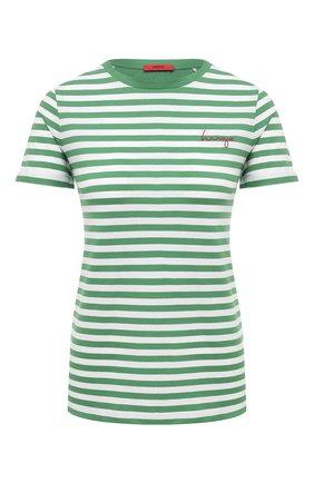 Женская хлопковая футболка HUGO зеленого цвета, арт. 50453793 | Фото 1