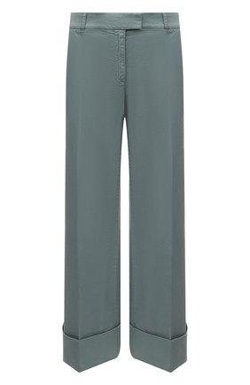 Женские хлопковые брюки BOSS зеленого цвета, арт. 50453645 | Фото 1