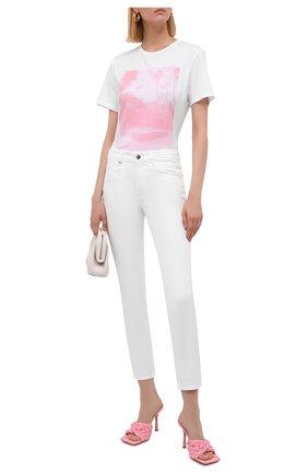 Женская хлопковая футболка BOSS белого цвета, арт. 50453400 | Фото 2