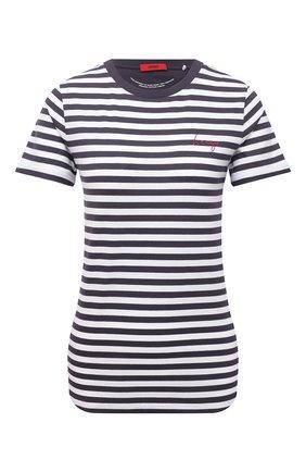 Женская хлопковая футболка HUGO синего цвета, арт. 50453793 | Фото 1