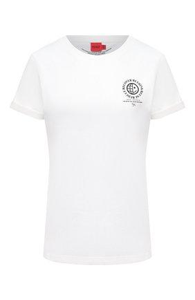 Женская хлопковая футболка HUGO белого цвета, арт. 50460375 | Фото 1