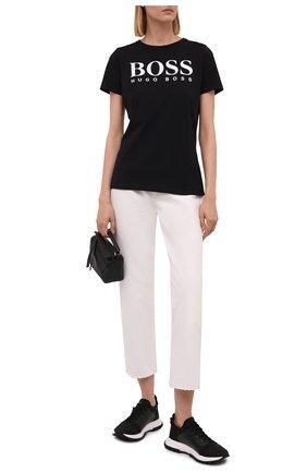 Женская хлопковая футболка BOSS черного цвета, арт. 50455144 | Фото 2