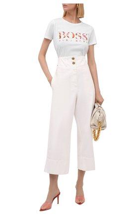 Женская хлопковая футболка BOSS белого цвета, арт. 50455681 | Фото 2
