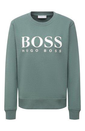 Женский хлопковый свитшот BOSS зеленого цвета, арт. 50455351 | Фото 1