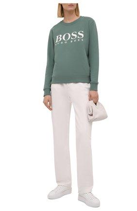 Женский хлопковый свитшот BOSS зеленого цвета, арт. 50455351 | Фото 2