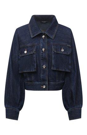 Женская джинсовая куртка DOLCE & GABBANA темно-синего цвета, арт. F9J02D/G901E   Фото 1 (Материал внешний: Хлопок; Длина (верхняя одежда): Короткие; Рукава: Длинные; Стили: Гламурный; Кросс-КТ: Деним, Куртка)