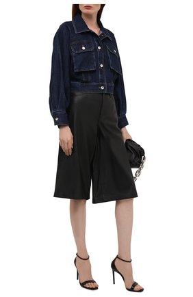Женская джинсовая куртка DOLCE & GABBANA темно-синего цвета, арт. F9J02D/G901E   Фото 2 (Материал внешний: Хлопок; Длина (верхняя одежда): Короткие; Рукава: Длинные; Стили: Гламурный; Кросс-КТ: Деним, Куртка)