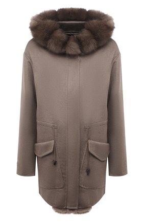 Женское кашемировое пальто MANZONI24 коричневого цвета, арт. 21M324-WS1Z/38-46 | Фото 1