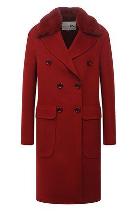 Женское пальто из шерсти и кашемира MANZONI24 красного цвета, арт. 21M329-DB1V/38-46   Фото 1