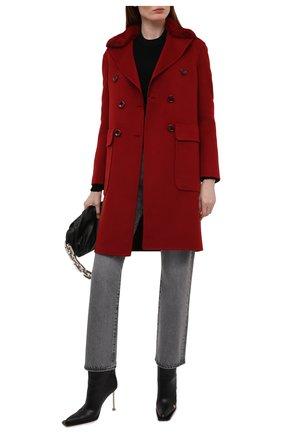 Женское пальто из шерсти и кашемира MANZONI24 красного цвета, арт. 21M329-DB1V/38-46   Фото 2