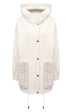 Женская куртка из шерсти и кашемира MANZONI24 кремвого цвета, арт. 21M384-DB1VTR/38-46   Фото 1