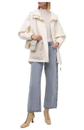 Женская куртка из шерсти и кашемира MANZONI24 кремвого цвета, арт. 21M384-DB1VTR/38-46   Фото 2