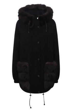 Женская куртка из шерсти и кашемира MANZONI24 черного цвета, арт. 21M824-DB1Z/38-46   Фото 1