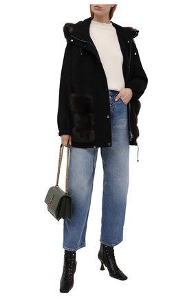 Женская куртка из шерсти и кашемира MANZONI24 черного цвета, арт. 21M824-DB1Z/38-46   Фото 2